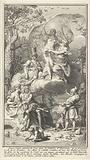Allegorical title page with the writer Jean de La Fontaine and his muse