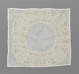 Batiste handkerchief with a richly worked wide ring of embroidery with four times three symmetrical flower branches …