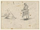Standing and kneeling fisherwoman