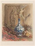 Still life with Chinese vase and dried sunflowers