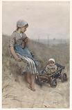 Fisher girl with child in pram in the dunes