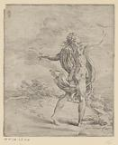 Nude woman with drapery around holds scale up