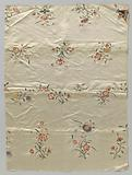 Fragment of four strips of light silk sewn together with embroidered flower sprays