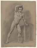 Standing male nude leaning on a block, seen from the front