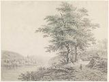 River landscape with a woman with a dog on a country road