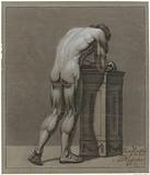 Standing male nude, bent over at a block, seen from the back