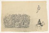 Sketch sheet with man on an easel and ornament: acantus leaves with animals interwoven in it.
