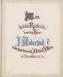 Title page with dedication to the children of Mr J Ankersmit jr.