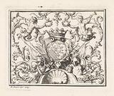 Crowned escutcheon in ornamental frame