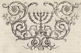 Seven-armed candlestick or menorah surrounded by tendrils