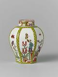 Tea caddy with lid, hexagonal, multicoloured painted with compartments with Indian Blumen and Chinese