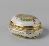 Sugar box with lid, multicoloured painted with chinoiseries and the coat of arms of the Venetian family Morosini