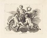 Three putti with attributes of the muses