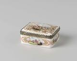 Snuff box, multicoloured painted with harbor views and on the inside of the lid a faun spying on a woman