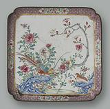 Leaf with pheasants and flowers
