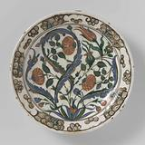 Dish with stylized flowering plants