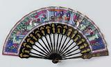 Folding fan with double sheet of fabric with on the front three scenes, including a rider on a white horse, on the …