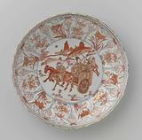 Saucer-dish with a Chinese couple in a cart with two servants