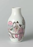 Ovoid vase with three ladies and an attendant surrounded by precious objects
