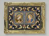 Plaque of Pietre dure, depicting the Annunciation in two oval fields with gilded copper frames, surrounded by stylized …
