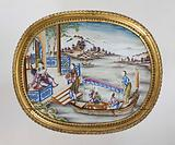 Oval panel with figures in a water landscape