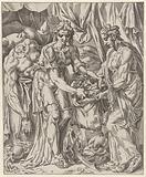 Judit puts Holofernes' head in a bag