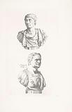 Two portrait busts of Emperor Trajan and Emperor Domitian
