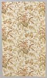Metrage curtain fabric in linen fake chintz, printed with yellow and red exotic leaves and flowers