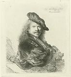 Portrait of Rembrandt van Rijn, with the forearm leaning on a stone sill