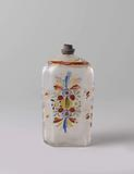 Bottle with flower scrolls, shrub branches and serpentine ribbons