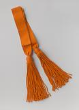 Sash of orange grosgrain ribbon, with two silver-plated buckles and end tassels of thick and long cord, with a head in …