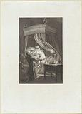 Man and woman with a child by a four-poster bed