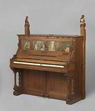 Music cabinet and piano with a relic of St Cecilia