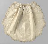 Cradle curtain in white silk damask with floral pattern