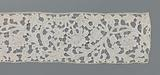 Strip for a bobbin lace top with billowing volute scrolls