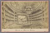 Photo reproduction of a drawing, depicting a face on stage in the Opéra Garnier in Paris