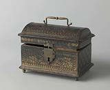 Box covered with stamped leather, with gilded ornaments
