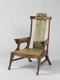Armchair upholstered in batik parchment