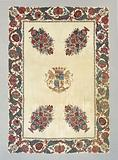 Bedspread or tablecloth of chintz with the arms of the Burmania family