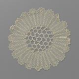 Round bobbin lace dress with a network of large hexagons with shaped layers in the center