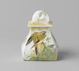White porcelain inkwell decorated with primroses and birds