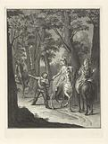 Sancho greets a duchess during the hunt