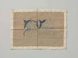 Needlework with embroidered blue arrowhead
