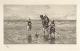 Four children play with toy boat on the beach in shallow sea water