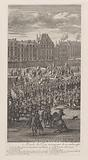 Front of the procession of King Louis XIV of France and his entourage on the Pont-Neuf