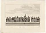 View of the houses on the Rapenburg in Leiden, from the Groenmarkt (or Garenmarkt) to the Sint Jacobsgracht, prior to …