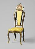 Ebony veneer chair with Boulle marquetry