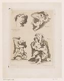 Four performances of a man's head, putto, man fighting with a lion and satyr who embraces a nymph