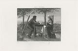 Man and woman at a table by the lake