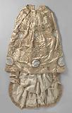 Skirt with salmon-coloured satin train, decorated with a slender and candelabra ornament of silver thread and …